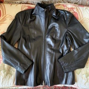Classic Burberry black leather jacket
